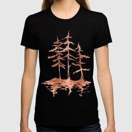 Three Sisters Trees Rose Gold on White T-shirt