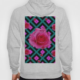 Black-Teal Fuchsia Pink Roses  Patterns Hoody