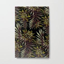 Aechmea Fasciata - Dark Green / Brown Metal Print