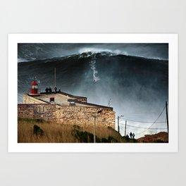 Nazaré - ride the wave Art Print