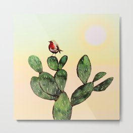 Cactus and a Bird Metal Print
