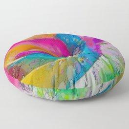 MOLECULAR RAINBOW ROSE ABSTRACT ART Floor Pillow