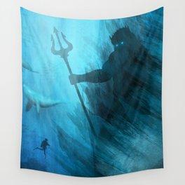 Scuba Diver meets Poseidon  Wall Tapestry