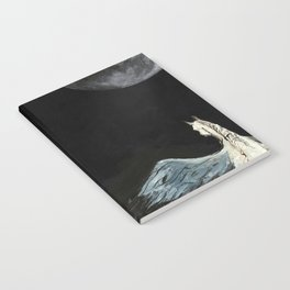 Horse flying to the moon Silver stream illustration Notebook