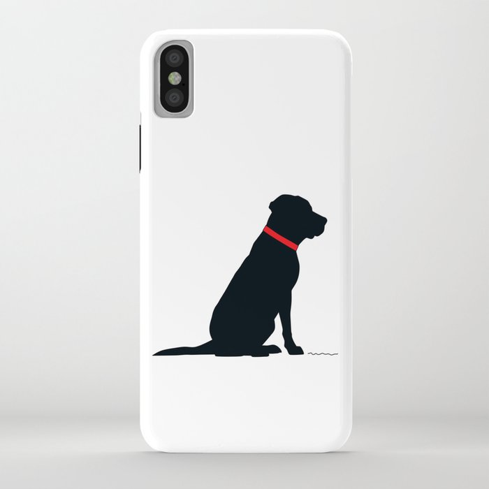 modern black lab silhouette iphone case
