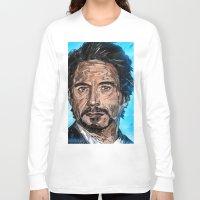 robert downey jr Long Sleeve T-shirts featuring RD JR by Balazs Pakozdi