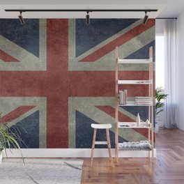 England's Union Jack flag of the United Kingdom - Vintage 1:2 scale version Wall Mural