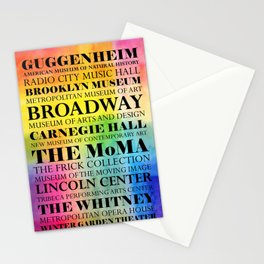 New York Arts - black text on color Stationery Cards