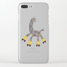 Rollerskating Girraffe Clear iPhone Case