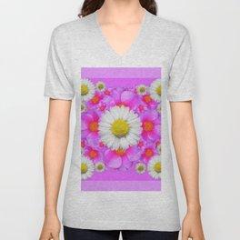 Lilac Fuchsia Rose Bouquet Garden Shasta Daisies Art Unisex V-Neck