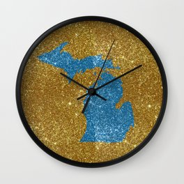 Michigan glitter Wall Clock
