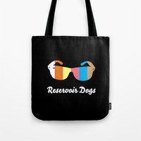 reservoir dogs Tote Bags featuring Minimal Reservoir Dogs Poster by Mahdi Chowdhury