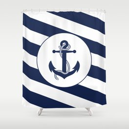 Nautical Anchor Navy Blue & White Stripes Beach Shower Curtain