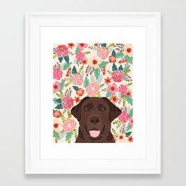 Chocolate Lab florals dog breed portrait pet art dog lover gifts labrador retriever Framed Art Print