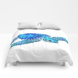 Sea Turtle Watercolor Art Comforters