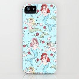 Mermaids and Roses on Aqua iPhone Case
