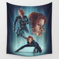 black widow Wall Tapestries featuring Black Widow by Svenja Gosen