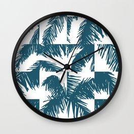Palm Leaf Pattern Blue Wall Clock