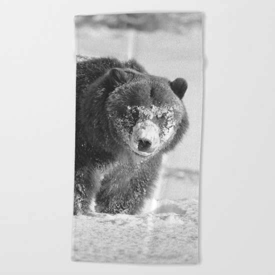 Alaskan Grizzly Bear in Snow, B & W - 3 Beach Towel
