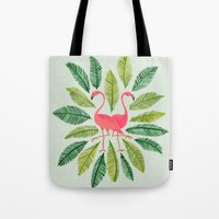 flamingos Tote Bags featuring Flamingos by Cat Coquillette