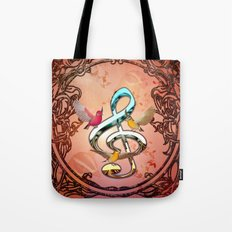 Decorative clef with songbirds Tote Bag