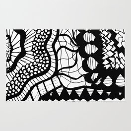 Free Hand Black and White Mix of Patterns Drawing Rug