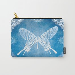 Bohemian Ornamental Butterfly Deep Blue Ombre Carry-All Pouch