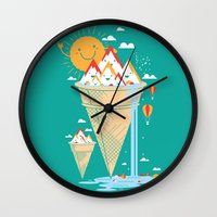 island Wall Clocks featuring mystery island by Steven Toang