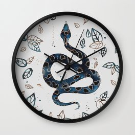 'Sea Serpent' snake and tropical illustration by Kristen Baker Wall Clock