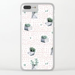 Potted Succulents Pink Polka Dots Clear iPhone Case