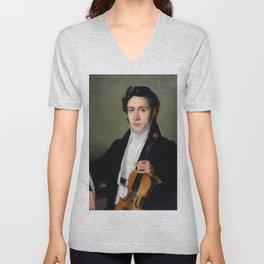 Portait of young Niccolò Paganini Unisex V-Neck