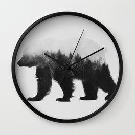 Brown Bear (black & white version) Wall Clock