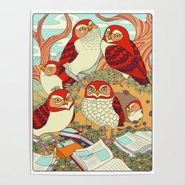 Burrowing Owl Family Poster