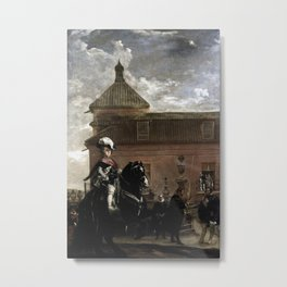 Diego Velázquez - Prince Baltasar Carlos with the Count-Duke of Olivares at the Royal Mews Metal Print