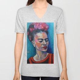 Je te ciel, hommage à Frida Kahlo Unisex V-Neck