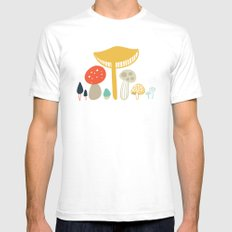 Forest Mushrooms White SMALL Mens Fitted Tee