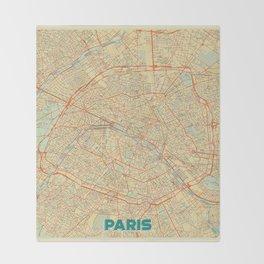 Paris Map Retro Throw Blanket
