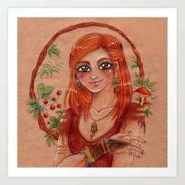 Nature lover - girl with mushrooms and berries Art Print