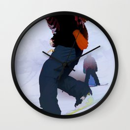 Snowboarder Moves Wall Clock