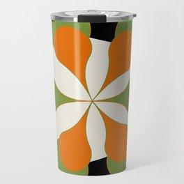 Mid-Century Modern Art 1.4 - Green & Orange Flower Travel Mug