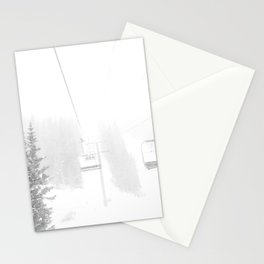Ski Lift Horizon // Ride to the Peak Epic Adventure Whiteout Black and White Minimal Photograph  Stationery Cards