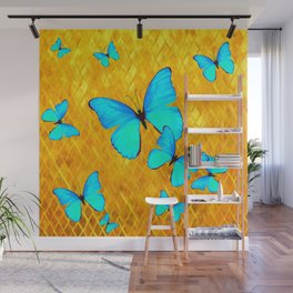 Gorgeous Gold Patterned Turquoise Butterflies Art Wall Mural