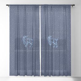 Capricorn Constellation and Zodiac Sign with Stars Sheer Curtain