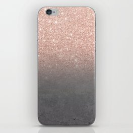Rose gold glitter ombre grey cement concrete iPhone Skin