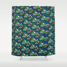 Rhino in blue Shower Curtain