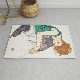 Girl sitting with knees up by Egon Schiele Rug