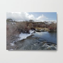 Winter River Awakening Metal Print