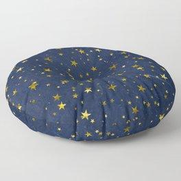 Golden Stars on Blue Background Floor Pillow