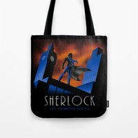 cartoon Tote Bags featuring Sherlock Cartoon by harebrained