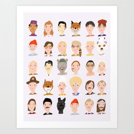 Wes Anderson Characters Art Print